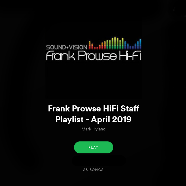 Frank Prowse Playlist - April 2019